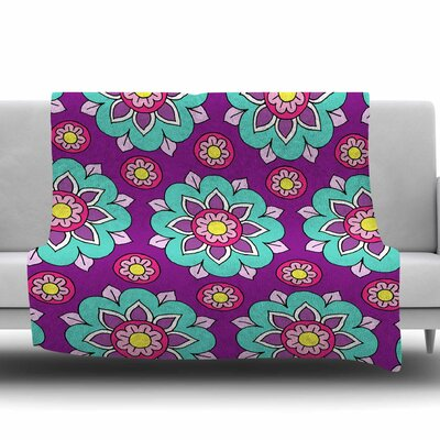 Bright Blossoms by Sarah Oelerich Fleece Blanket Size: 80 L x 60 W