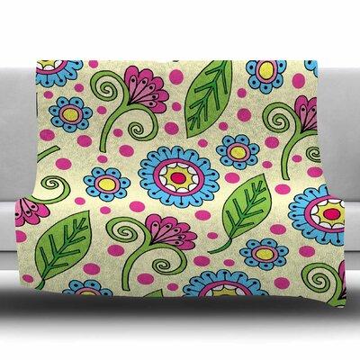Polka Dot Garden by Sarah Oelerich Fleece Blanket Size: 80 L x 60 W