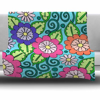 Summer Floral by Sarah Oelerich Fleece Blanket Size: 80 L x 60 W