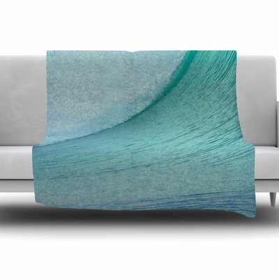 Ocean Blue Wave by Susan Sanders Fleece Blanket Size: 80 L x 60 W