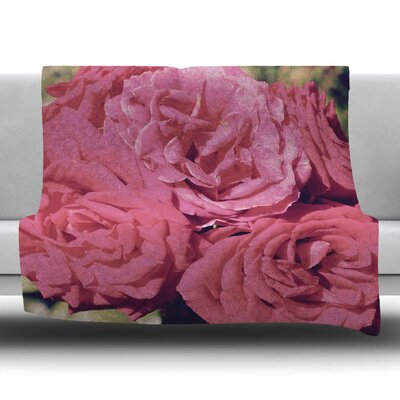 Blush Pink Blooming Roses by Susan Sanders Fleece Blanket Size: 80 L x 60 W