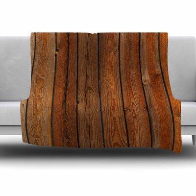 Rustic Wood Wall by Susan Sanders Fleece Blanket Size: 80 L x 60 W