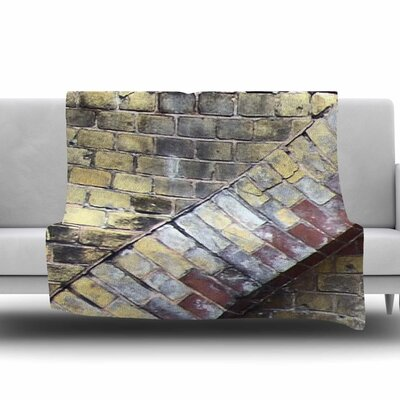 Painted Grunge Brick Wall by Susan Sanders Fleece Blanket Size: 80 L x 60 W