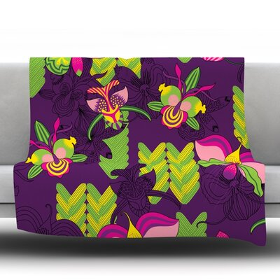 Orchids Festival Fleece Throw Blanket Size: 80 L x 60 W