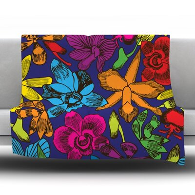 Lovely Orchids Fleece Throw Blanket Size: 80 L x 60 W