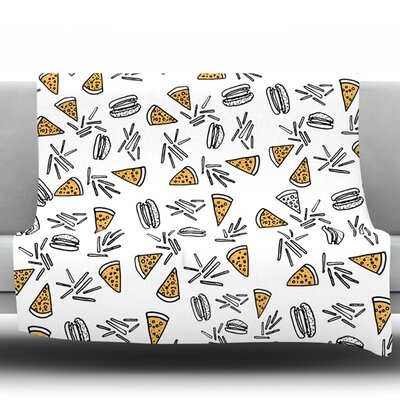 Burgers and Pizza Fleece Throw Blanket Size: 80 L x 60 W
