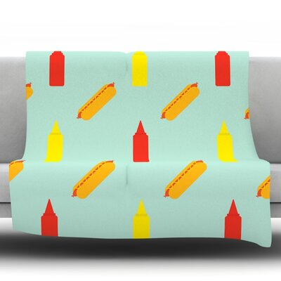 Hot Dog Fleece Throw Blanket Size: 60 L x 50 W