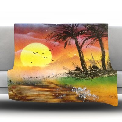 Maui Sunrise Fleece Throw Blanket Size: 40 L x 30 W