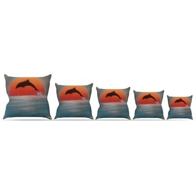Dolphin Sunset Throw Pillow Size: 18 H x 18 W x 3 D