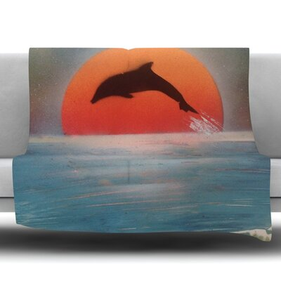 Dolphin Sunset Fleece Throw Blanket Size: 40 L x 30 W