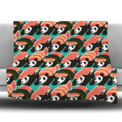 Sushi Panda Fleece Throw Blanket Size: 80 L x 60 W