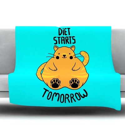 Diet Starts Tomorrow Fleece Throw Blanket Size: 40 L x 30 W