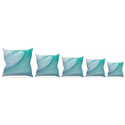 Ocean Blue Wave Throw Pillow Size: 16 H x 16 W x 3 D