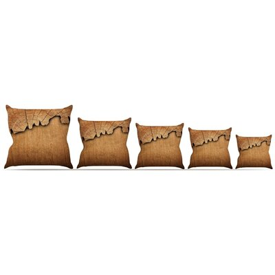 Natural Wood Throw Pillow Size: 16 H x 16 W x 3 D