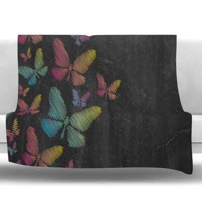 Butterflies Fleece Throw Blanket Size: 80 L x 60 W