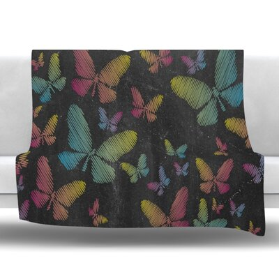 Butterflies II Fleece Throw Blanket Size: 40 L x 30 W