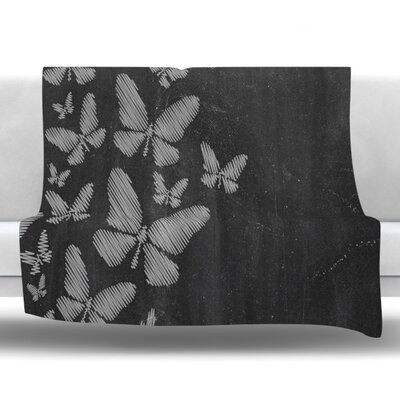 Butterflies IV Fleece Throw Blanket Size: 60 L x 50 W