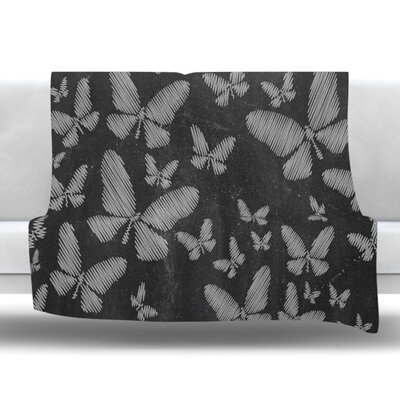 Butterflies III Fleece Throw Blanket Size: 90 L x 90 W