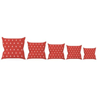 Pine Pattern Maroon Throw Pillow Size: 18 H x 18 W x 3 D