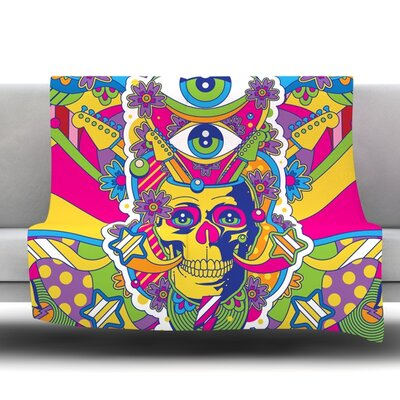 Skull Fleece Throw Blanket Size: 80 L x 60 W