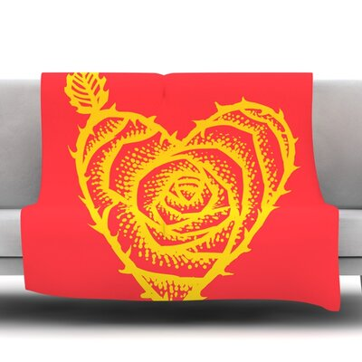 I Love Roses Fleece Throw Blanket Size: 80 L x 60 W