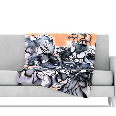 Inky Bouquet Fleece Throw Blanket Size: 80 L x 60 W