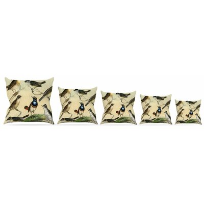 Vintage Birds Throw Pillow Size: 16 H x 16 W x 3 D