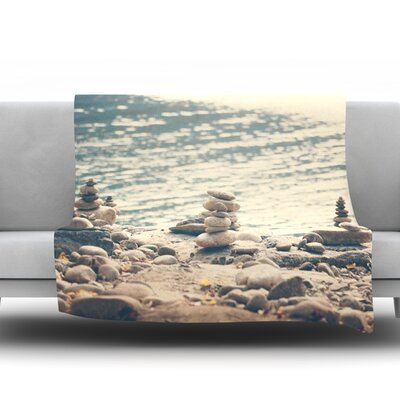 River Cairns by Catherine McDonald Fleece Throw Blanket Size: 60 H x 50 W