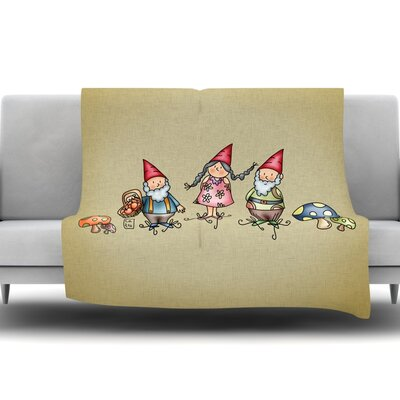 Gnomes by Carina Povarchik Fleece Throw Blanket Size: 60 L x 50 W