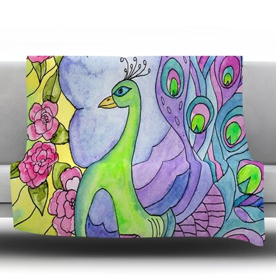 Stained Glass Watercolor Peacock by Catherine Holcombe Fleece Throw Blanket Size: 80 H x 60 W