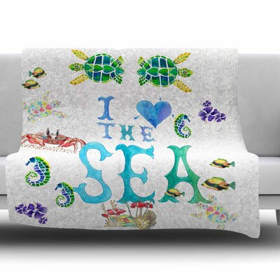 I Love The Sea by Catherine Holcombe Fleece Throw Blanket Size: 40 L x 30 W
