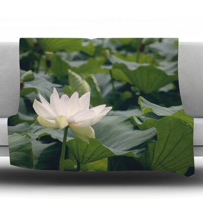 Lotus by Catherine McDonald Fleece Throw Blanket Size: 80 H x 60 W
