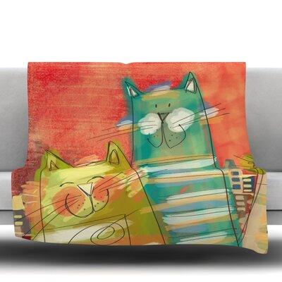 Gatos by Carina Povarchik Fleece Throw Blanket Size: 40 L x 30 W