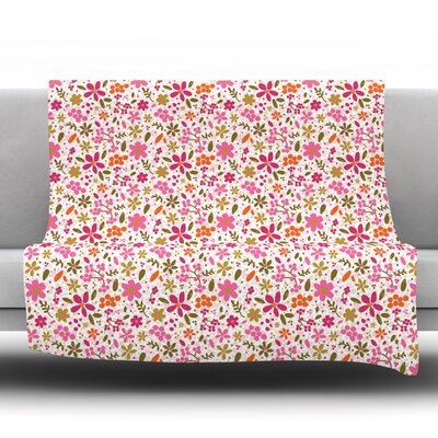 Flowers Garden by Carolyn Greifeld Fleece Throw Blanket Size: 60 L x 50 W