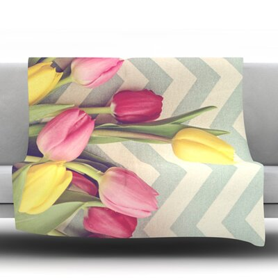 Tulips and Chevrons by Catherine McDonald Fleece Throw Blanket Size: 60 H x 50 W