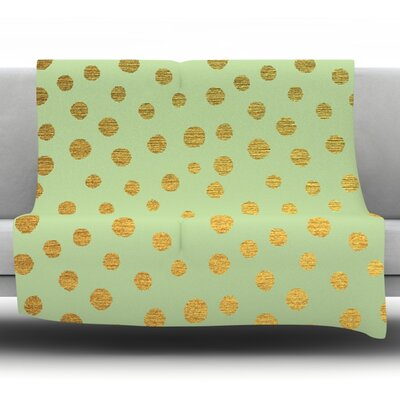 Golden Dots and Mint by Nika Martinez Fleece Blanket Size: 80 L x 60 W