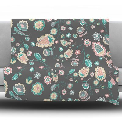 Cute Winter Floral by Nika Martinez Fleece Blanket Size: 60 L x 50 W