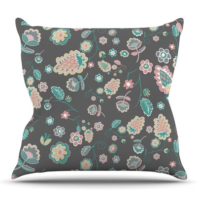 Cute Winter Floral by Nika Martinez Throw Pillow Size: 18 H x 18 W