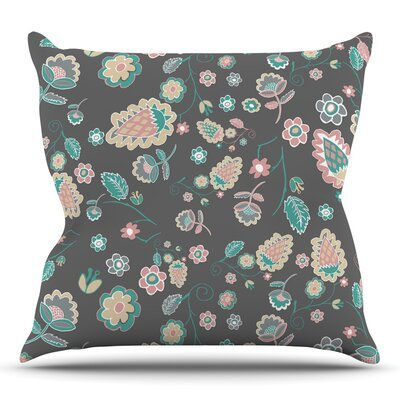Cute Winter Floral by Nika Martinez Throw Pillow Size: 26 H x 26 W