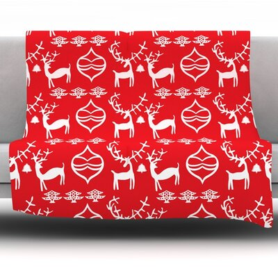 Antler Fun by Miranda Mol Fleece Blanket Size: 40 L x 30 W
