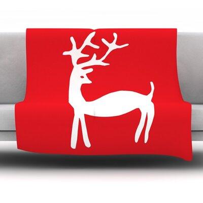 Reindeer by Miranda Mol Fleece Blanket Size: 80 L x 60 W