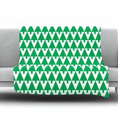 Happy X-Mas Fleece Throw Blanket Size: 40 L x 30 W, Color: Green