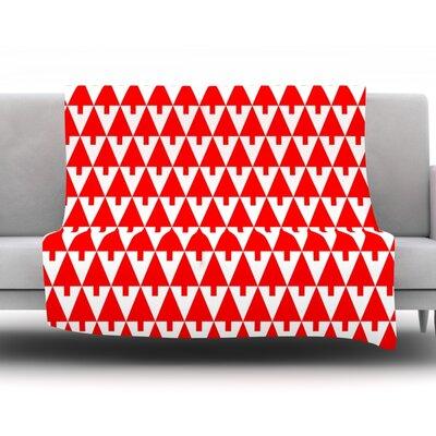 Happy X-Mas Fleece Throw Blanket Size: 40 L x 30 W, Color: Red