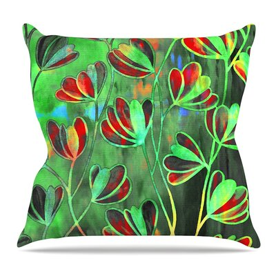 Efflorescence Throw Pillow Size: 26 H x 26 W x 5 D, Color: Red Green