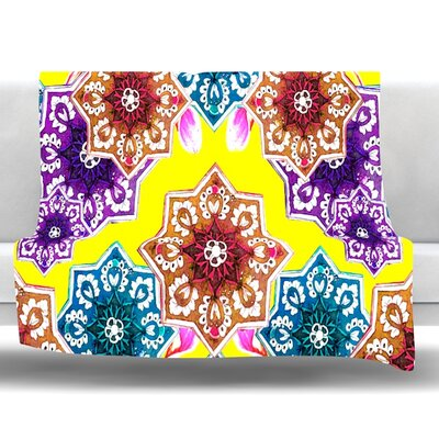 Flower Power Fleece Throw Blanket Color: Yellow, Size: 80 L x 60 W