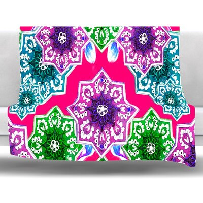 Flower Power Fleece Throw Blanket Size: 80 L x 60 W, Color: Red