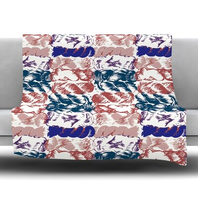 Fleece Throw Blanket Color: Blue Red, Size: 80 L x 60 W