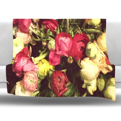 Ranunculus Fleece Throw Blanket Size: 40 L x 30 W