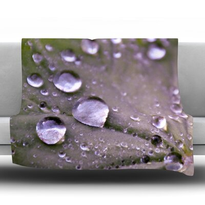 Water Droplets Fleece Throw Blanket Size: 80'' L x 60'' W, Color: Purple