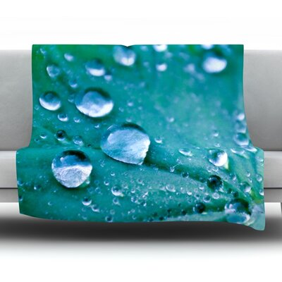 Water Droplets Fleece Throw Blanket Size: 80 L x 60 W, Color: Aqua